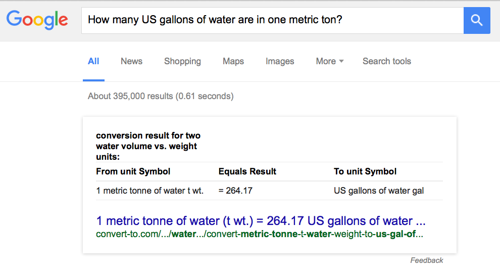 """How many US gallons of water are in one metric ton?"""