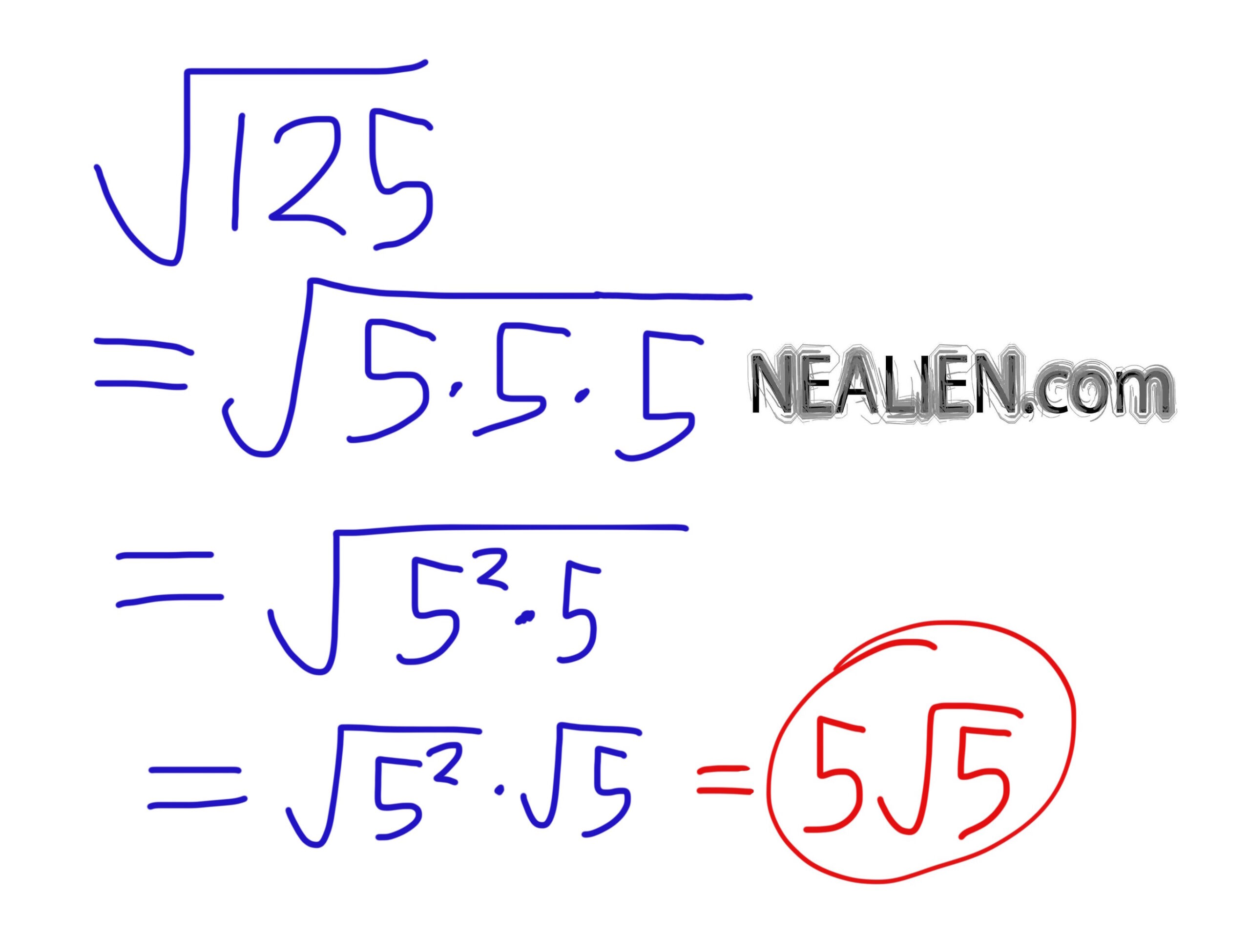 Square root of 125 simplified