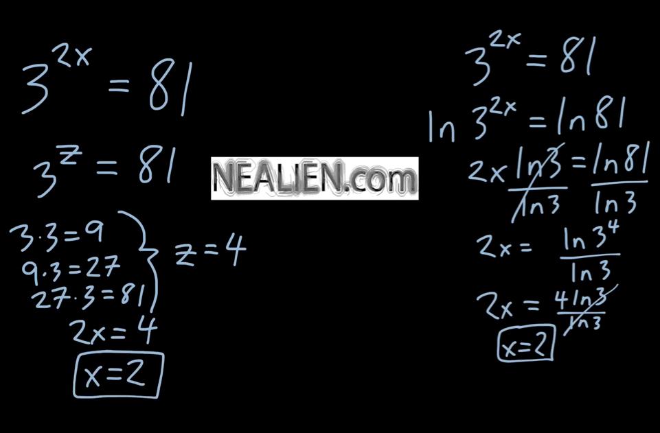 How do I solve 3^{2x}=81?