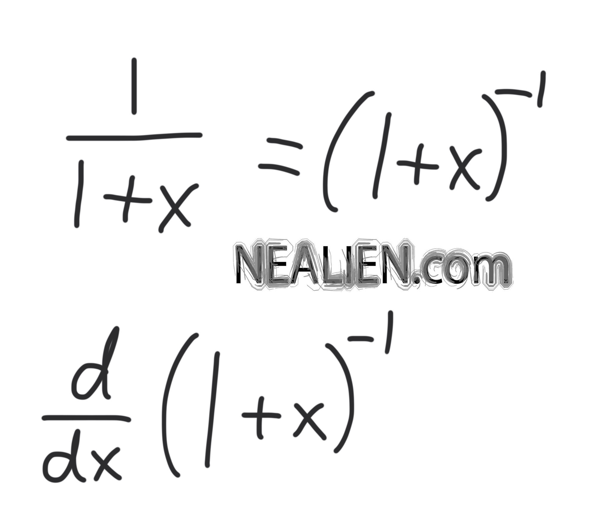 How do we find the derivative of 1/(1+x) ?