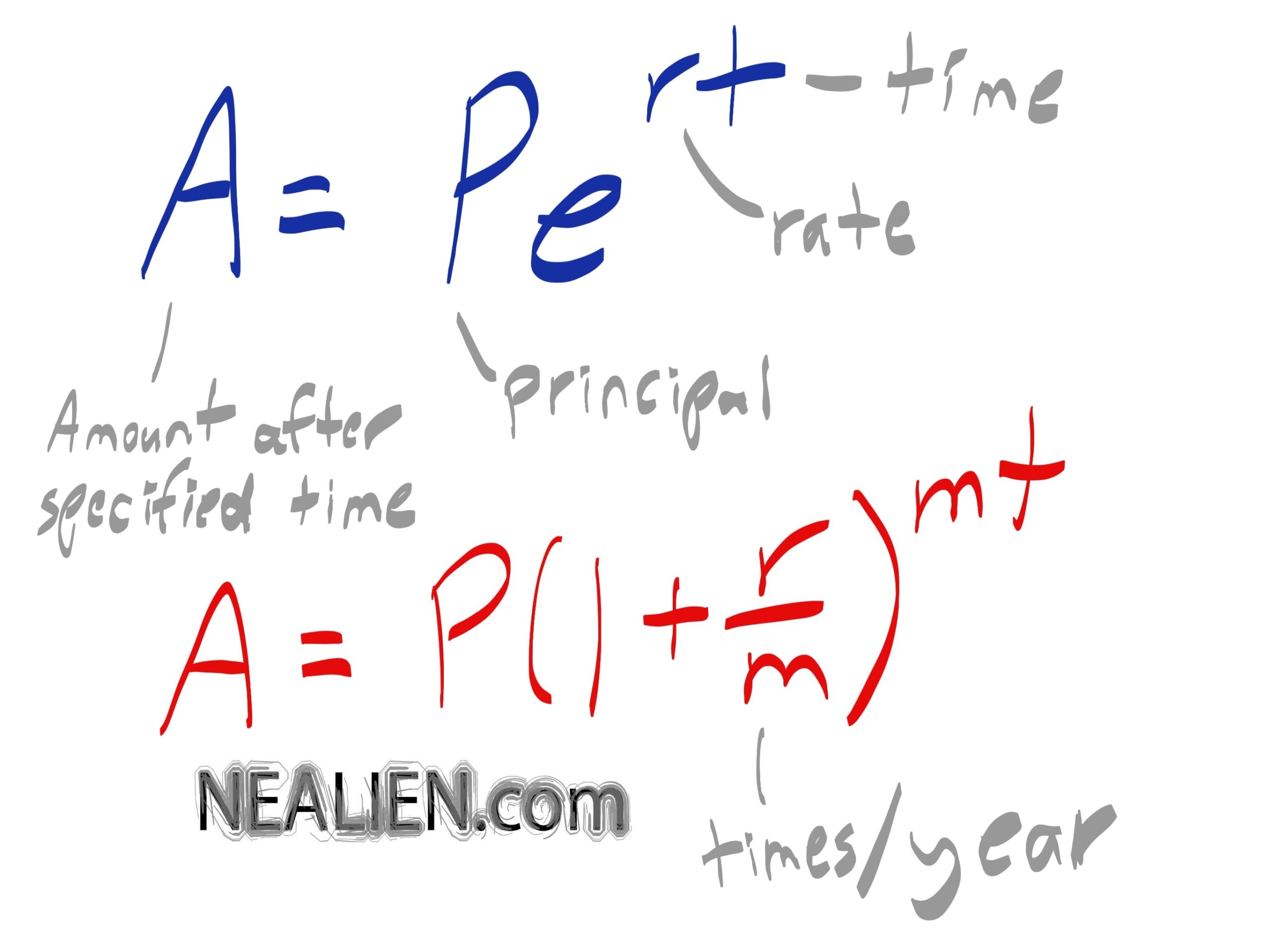 Tutoring Business Calculus, Two types of interest rate equations
